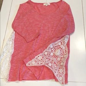 Pink Heather Shirt with Lace Side Detail M